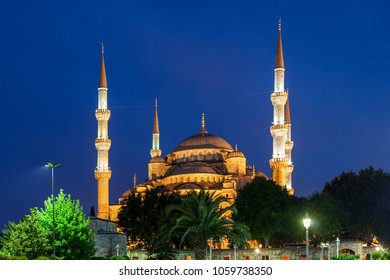 Blue Mosque (Sultan Ahmet Camii) illuminated at night in Istanbul, Turkey, Ottoman architecture, city landmark from 1616.