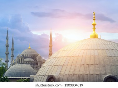 Blue mosque Sultanahmet, Aya Sophia Cathedral at sunset museum Cathedral Byzantine exterior architecture religion landmark Istanbul Turkey.
