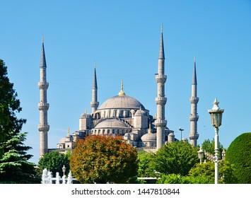 Blue mosque (Sultanhmet camii) against blue sky,   Istanbul Turkey.