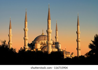 The Blue Mosque in sunset view, Istanbul, Turkey