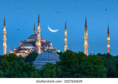 Blue Mosque under crescent moon