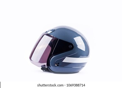blue motorcycle helmet side view on white background helmet safety object isolated
