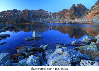 Blue mountain lake reflecting mountains before sunrise