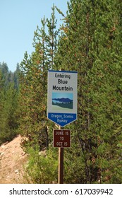 Blue Mountain Scenic Byway sign along an eastern Oregon highway