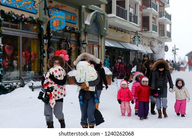 The Blue Mountain Ski resort, Canada, February 14, 2015. Blizzard in winter resort, cold weather, winter activities and shopping