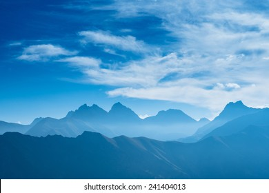 Blue mountains in Bavaria Germany