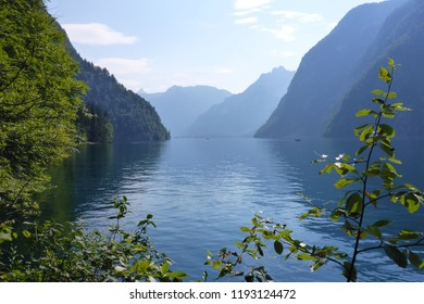 Blue mountains at the Koenigs See in Berchdesgaden Bavaria Germany