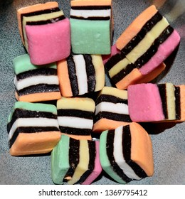 Blue Mountains, New South Wales, Australia. April 2019. Licorice Allsorts displayed in a white bowl.
