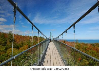 Blue Mountains, Ontario, Canada - October 8, 2005: Suspension bridge at Blue Mountain Scenic Caves