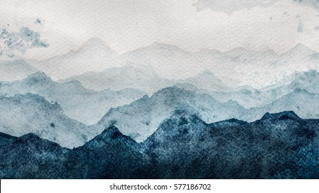 Blue mountains silhouette fading in distance perspective watercolor painting on paper