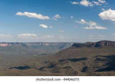 Blue Mountains in Sydney, Australia. Cloudy Blue Sky and Shadows