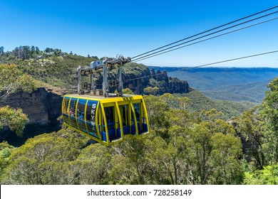 Blue Mountains, Sydney - Dec 30, 2015: Skyway tram over the mountains