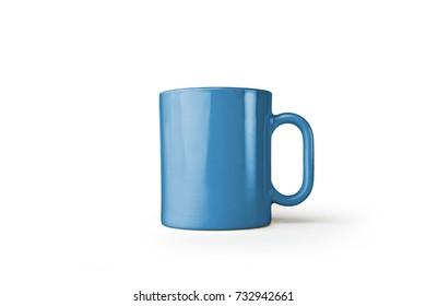 Blue mug isolated on white background, 3d illustration