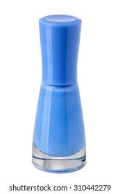 Blue nail polish isolated on white background.