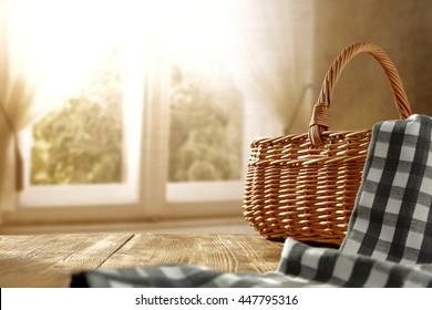 blue napkin basket and window