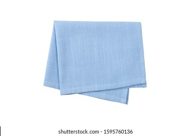 Blue napkin isolated on white background. Top view