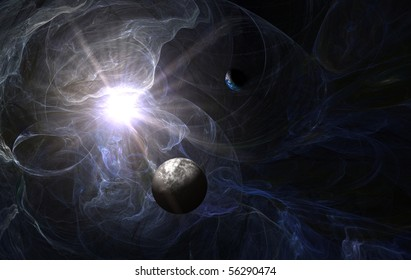 blue nebula with death planet and earth