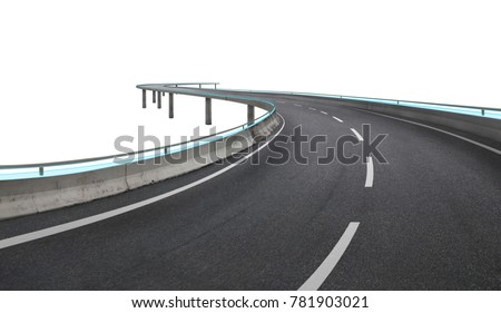 Blue neon light design highway flyover isolated on white background with clipping path .