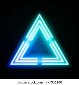 Blue neon light triangle. Gradient delta. Techno frame. Night club electric bright 3d sign. Banner design on dark blue backdrop. Neon abstract tech background with glow. Technology raster illustration