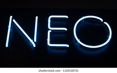 Blue neon NEO sign
