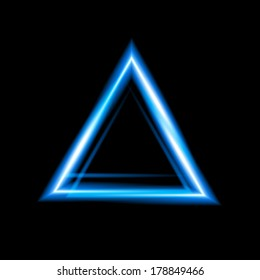 Blue neon triangle background. Triangle Border with Light Effects. Illustration for your business presentations.