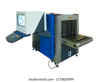 Blue new X-ray scanner and metal detector at airport security checkpoint isolated over white background