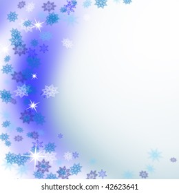 blue new year's snowflake on blue background