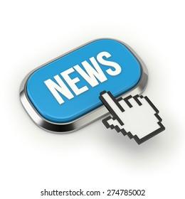 Blue news button with metallic border on white background