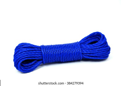 Blue nylon utility rope isolated on white background