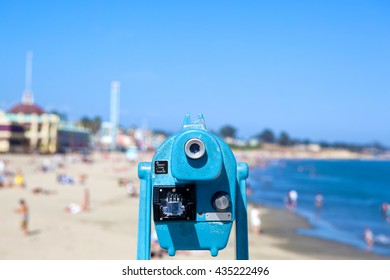 Blue Observation Scope Overlooking a Sunny California Beach