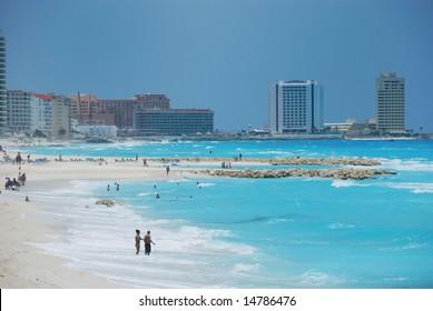 Blue ocean in cancun mexico