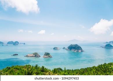 Blue ocean and island from Yeocha Hongpo observation platform in Geoje, Korea
