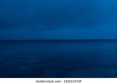 Blue in blue ocean view by long exposure at night
