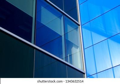 blue office building window corner skyscraper modern business architecture