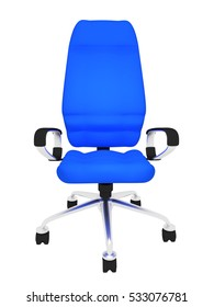 blue office chair on a white background 3d rendering