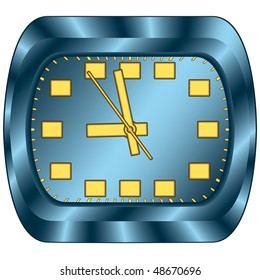 Blue office clock. Vector without mesh