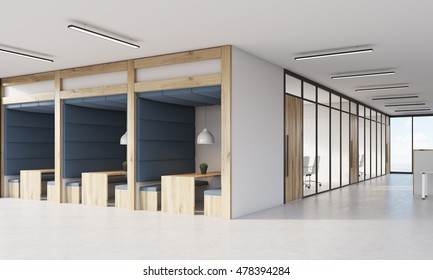 Blue office cubicles and meeting room interior with glass walls. Concept of business and company interior. 3d rendering.