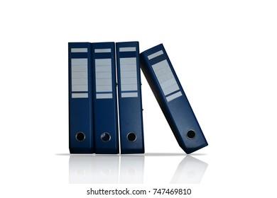Blue office folder isolated on white