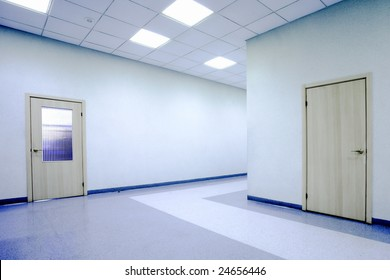 Blue office hall and doors