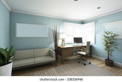 Blue Office Room View in Country House 3d Rendering