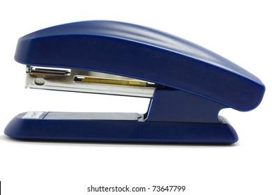 Blue office stapler on white background