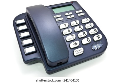 Blue office telephone without cord