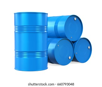 Blue Oil Drums Isolated. 3D rendering