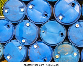 The blue oil tanks .