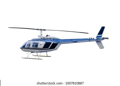 Blue old model Helicopter parked, Isolated on white background