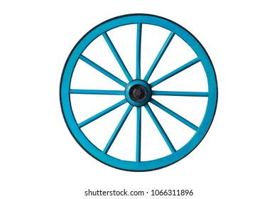 blue old wooden wheel isolated on white background
