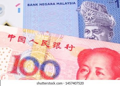 A blue, one ringgit Malaysian note close up in macro with a red, one hundred yuan renminbi note from the People's Republic of China