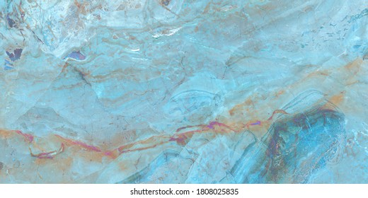 Blue Onyx Marble, polished marble texture with high resolution, Aqua tone emperador natural breccia stone agate surfaces, exotic semi precious Onice, modern Italian marbel quartzite, mineral macro.