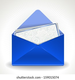 blue open envelope with the beautiful invitation inside