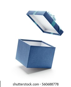 Blue open gift box isolated on white background - Shutterstock ID 560688778